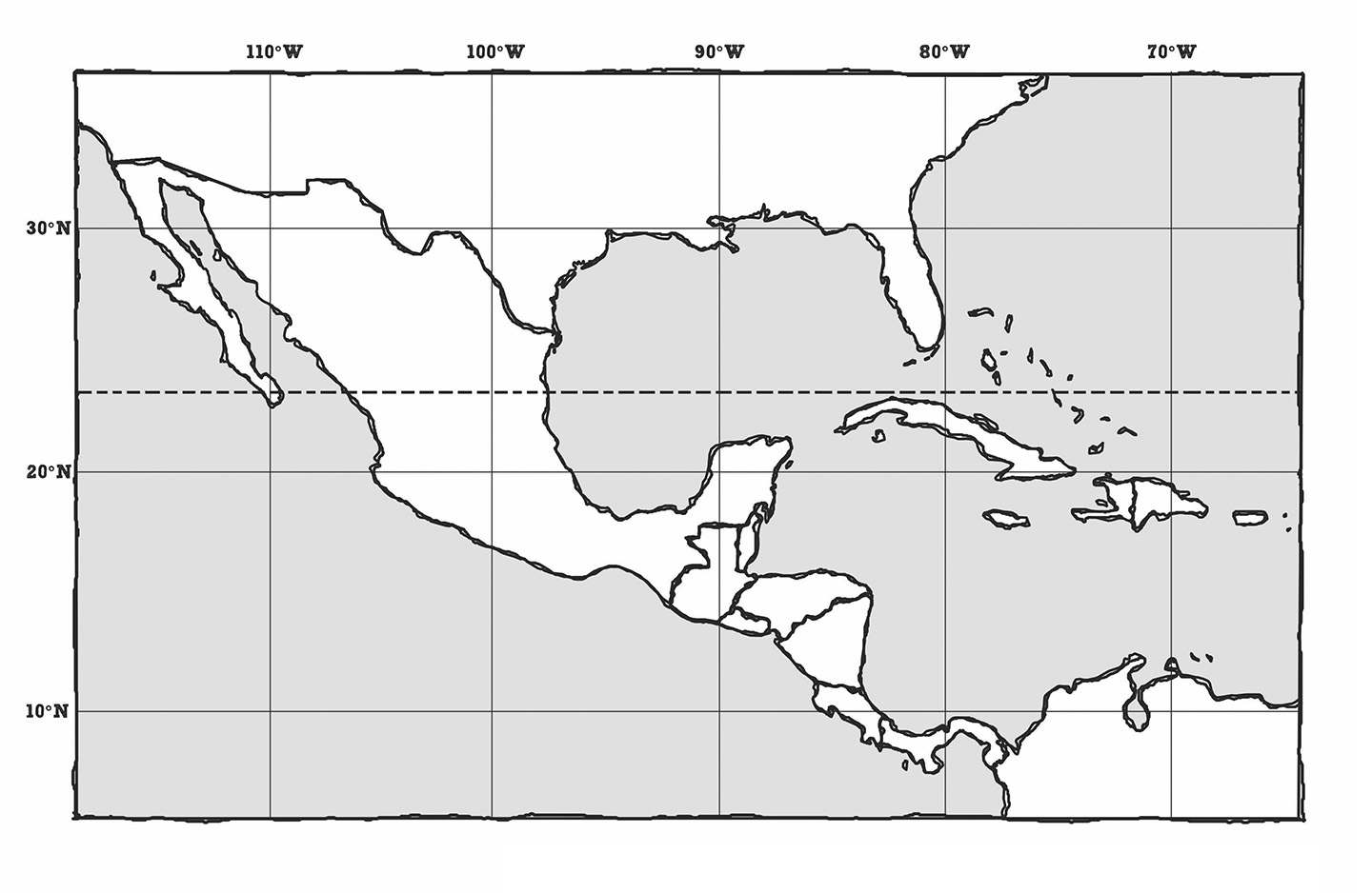 Central America Map Outline | Canvas | Passport to the Nations