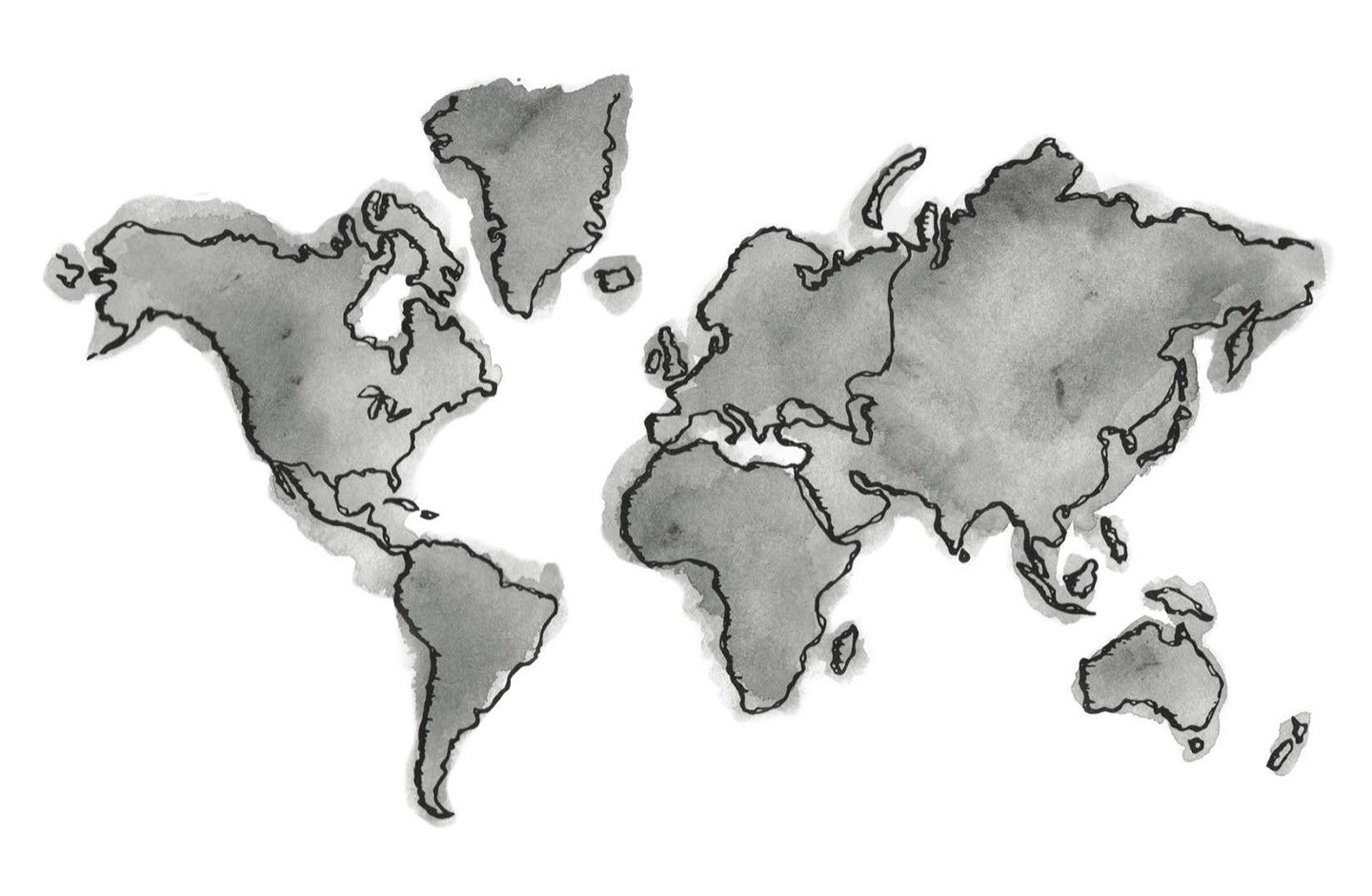 Global Impact World Map | Printed Grey | Canvas | Passport to the